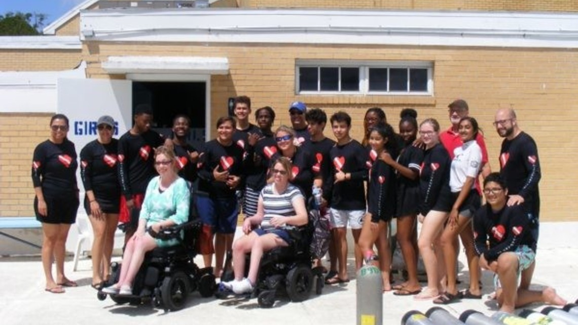 CRT students, staff, and members of Diveheart at Mary Help of Christians pool